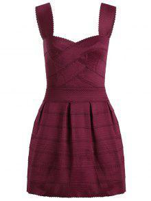 Sweetheart Neck Jacquard Puffball Dress - Deep Red