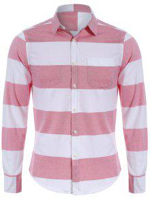 Single Breasted Pocket Striped Shirt - Red And White Xl