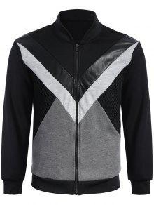 Zip Up Patchwork PU Leather Panel Jacket - Black 2xl
