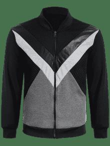De Chaqueta Zip Up PU Cuero Negro 2xl Patch Patch 1U7vB7x