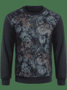 Negro Pullover M Sudadera Panel Fishnet Impreso pqzz4gFx