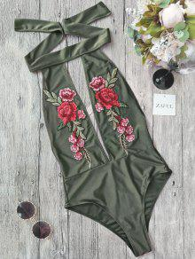 Backless Floral Applique Choker Swimsuit - Green M