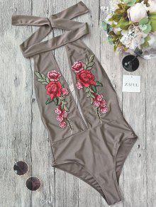 Backless Floral Applique Choker Swimsuit - Light Brown S