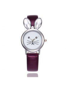 ساعة شريطها بجلد اصطناعي على شكل أذن الأرنب - أرجواني