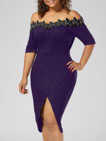 Plus Size Applique Trim Pencil Dress - Purple Xl