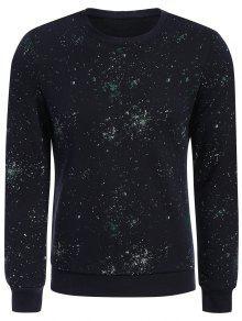 Sweat-shirt à Motif à Col Rond - Bleu Foncé Xl