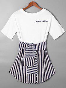 Vestido De Camiseta Con Faldas Curvas A Rayas Con Nudo De Lazo - Azul Purpúreo M