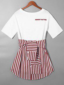Vestido De Camiseta Con Faldas Curvas A Rayas Con Nudo De Lazo - Rojo L