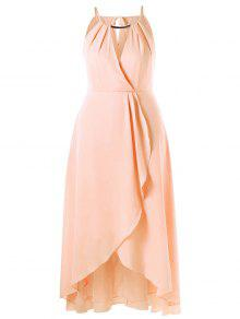 Plus Size Cut Out Overlap Flowing Dress - Pinkbeige 4xl