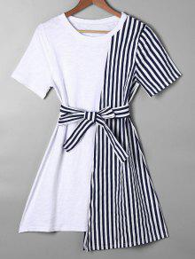 Striped Asymmetrical Mini Tee Dress - Blue Xl
