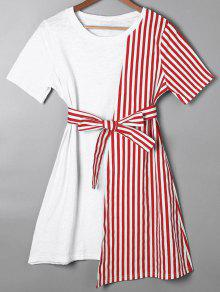 Striped Asymmetrical Mini Tee Dress - Red L