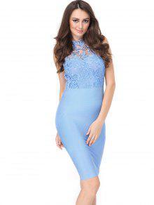 Vestido De Encaje Sin Mangas De Encaje - Cielo Azul L