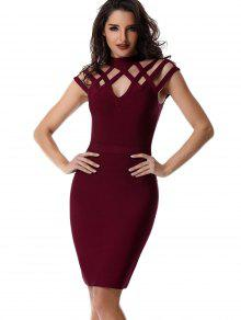 High Neck Cut Out Bandage Dress - Wine Red M