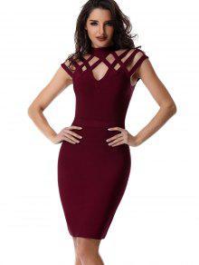 Vestido Recortado Con Cuello Alto - Vino Rojo L
