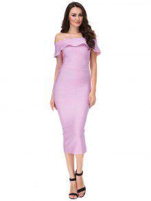 Off The Shoulder Flounce Bandage Dress - Pinkish Purple L