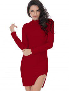 Slit Long Sleeve Bodycon Dress - Deep Red L