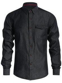 جيب واحد الصدر قميص الدنيم - أسود L