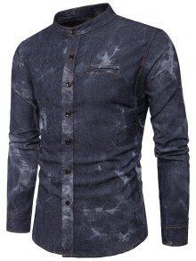 إنهاء طوق التعادل صبغ التحريف قميص الدنيم - أسود L