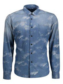 جيب التعادل مصبوغ الدنيم قميص - أزرق Xs