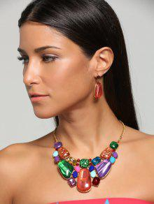Retro Artificial Gemstone Statement Necklace Set - Jacinth