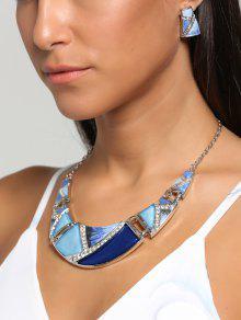 Boho Geometrical Spliced Faux Gem Necklace And Earrings - Blue