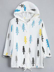 جاكيت طباعة الشجرة زر بقلنسوة - أبيض فاتح