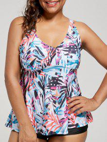 Plus Size Multi Color Printed Blouson Tankini Set - Floral 2xl