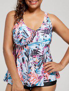 Plus Size Multi Color Printed Blouson Tankini Set - Floral 4xl