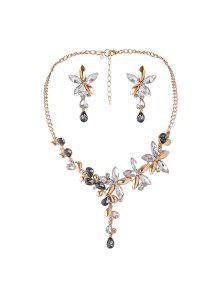 Faux Crystal Flower Necklace And Earring Set - White