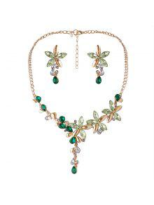 Faux Crystal Flower Necklace And Earring Set - Green