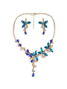 Faux Crystal Flower Necklace And Earring Set - Blue