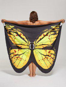 فستان الحجم الكبير طباعة الفراشة لف - الأصفر 2xl