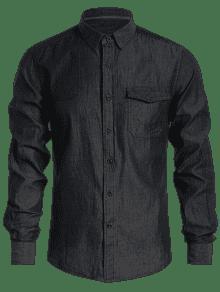 Pecho De Camisa L Un Mezclilla Solo De Bolsillo Negro De 7twRnqW7a