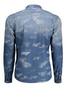 L Te De Azul ida Bolsillo Mezclilla Lazo Del Camisa 68dpx6