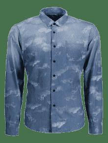 Bolsillo ida De Azul Del L Te Mezclilla Lazo Camisa wzqnTRff