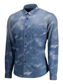 Azul Camisa De Del Lazo Mezclilla L ida Te Bolsillo 6f0xRZqfw