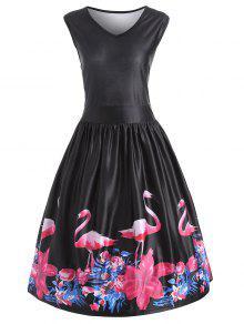 Flamingo Imprimir Plus Size V Neck Vestido De época De Midi - Negro 5xl