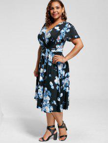 35548a0053ac9 2019 V Neck Floral Plus Size Tea Length Dress In BLUE 6XL