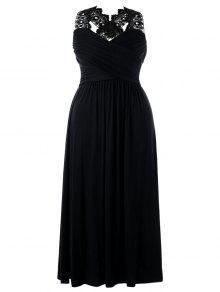 زائد حجم الدانتيل إدراج الإمبراطورية الخصر فستان ماكسي - أسود 5xl