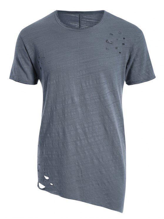 T-shirt Asymétrique Déchiré Bord Usé - Gris Bleuté 2XL