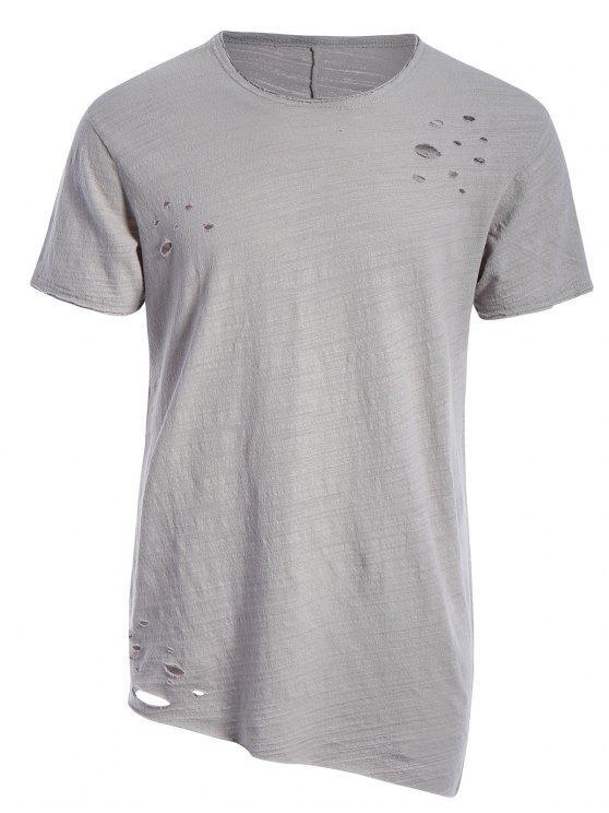 T-shirt Asymétrique Déchiré Bord Usé - Gris Clair XL