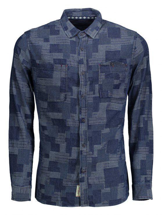 latest Long Sleeves Jacquard Mens Denim Shirt - INDIGO L