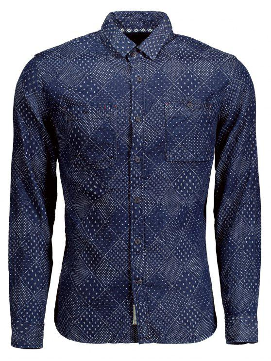 women's Long Sleeves Jarcquard Denim Mens Shirt - BLUE 2XL
