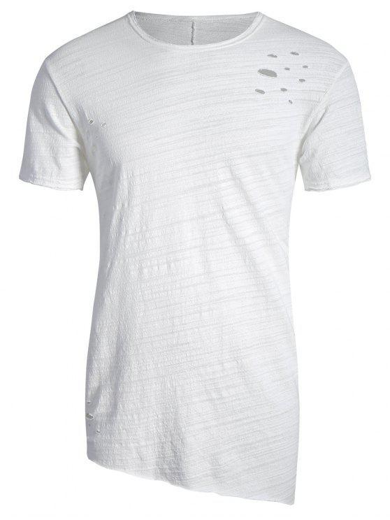 T-shirt Asymétrique Déchiré Bord Usé - Blanc XL