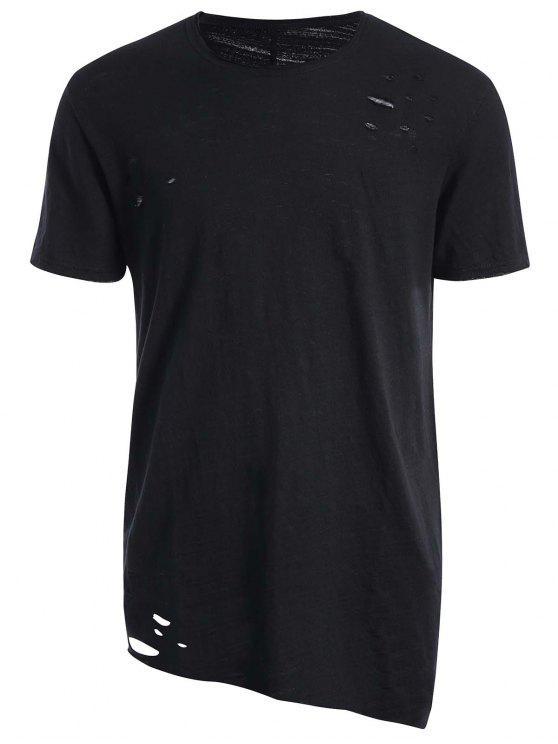 T-shirt Asymétrique Déchiré Bord Usé - Noir L