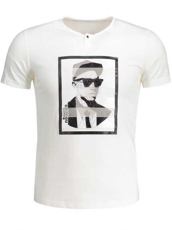 T-shirt en Coton Graphique Homme - Blanc XL