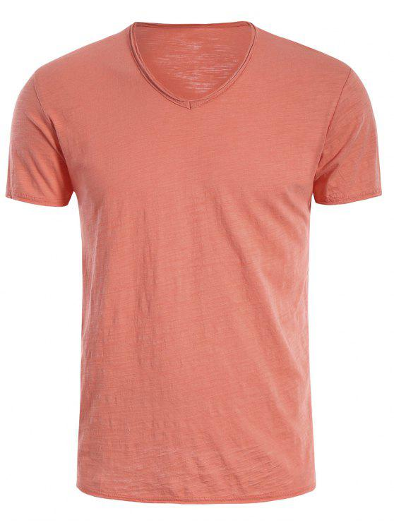 new Mens Raw Edge V Neck Tee - JACINTH 2XL