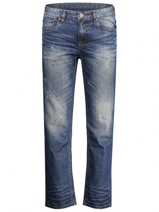 fancy Worn Zip Fly Straight Jeans - DENIM BLUE 36