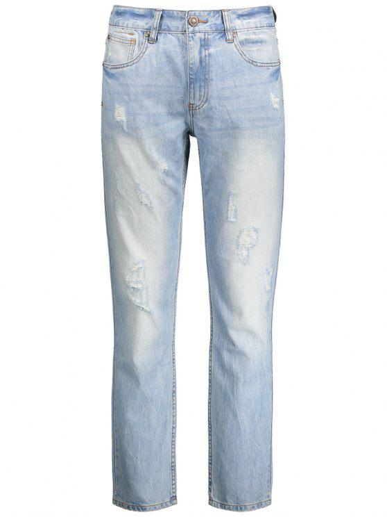 ladies Worn Ripped Zip Fly Straight Jeans - LIGHT BLUE 36