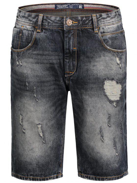 Bermuda Ripped Denim Shorts - Noir M